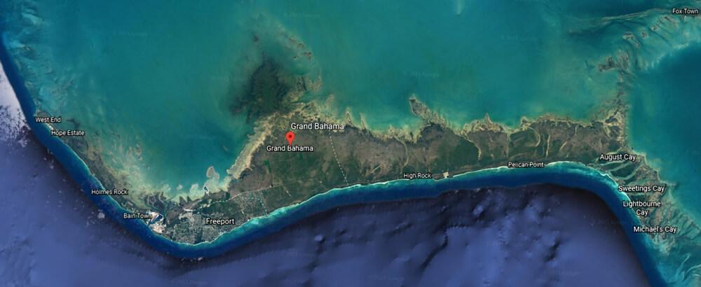 Google Earth map of Grand Bahama